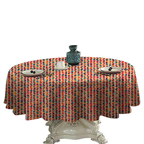 Geometric Kids Round Tablecloth Vertical Zig Zag Stripes with Triangles Fractal Look Vintage Mosaic Artful Tile Round Table Cloth for Outdoor Or Indoor 54 inch