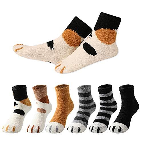 MOCOCITO 6 Paar Plüsch Korallen Socken Kuschel Katzenpfoten Socken, Winter Dicke Warme Schlafsocken, Weibliche Rohr Socken Damen Socken Haussocken Bodensocken EU Größe 35-42