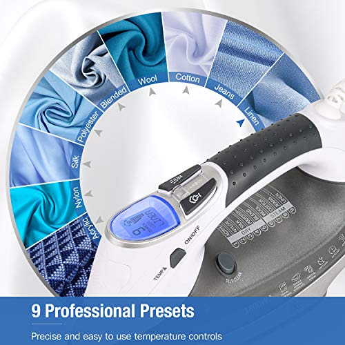 BEAUTURAL 1800-Watt Steam Iron with Digital LCD 9 Presets, Double-Layer Ceramic Coated Soleplate (Grey)