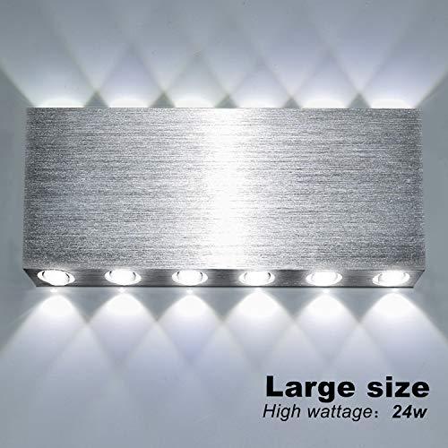 Lightess 24W LED Wandleuchte Innen Up and Down Wandlampe Modern Silber WandbeleuchtungKaltweiss Bleuchtung für Treppenhaus Wohnzimmer Schlafzimmer Flur usw. (Aluminium)