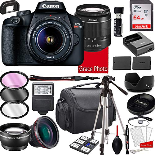 Canon EOS Rebel T100 DSLR Camera with 18-55mm f/3.5-5.6 Zoom Lens, 64GB Memory,Case, Tripod and More (28pc Bundle)