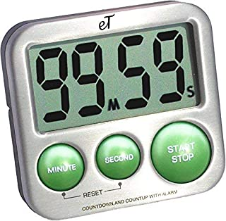 eTradewinds Digital Kitchen Timer Stainless Steel - Strong Magnetic Back - Kickstand - Loud Alarm - Large Display - Auto M...