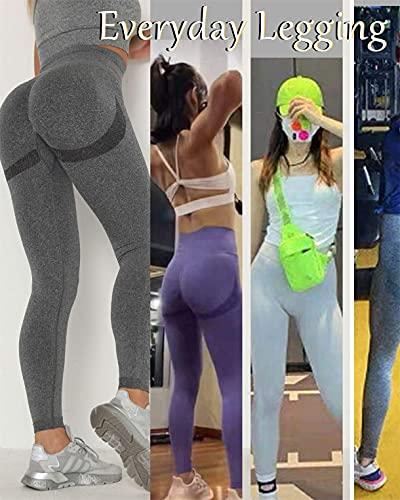 Yutdeng Leggins Deportivos Mujer Push up Mallas Pantalones Cintura Alta Yoga de Punto Sin Costuras Leggings Pantalón Moda para Fitness Running Deporte Elásticos y Transpirables