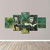 YHUJIK 5 Paneles murales Rick y Morty 5 Impresiones en Lienzo HD imágenes Modernas decoración del hogar Lienzo Impreso Pinturas en Lienzo.150x80cm