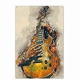 Jinlyp Estilo Retro Música Estrella Guitarra Metal Cartel de Chapa Señalización Bar Inicio Hotel Art Deco Placa de Metal 20x30cm XP770
