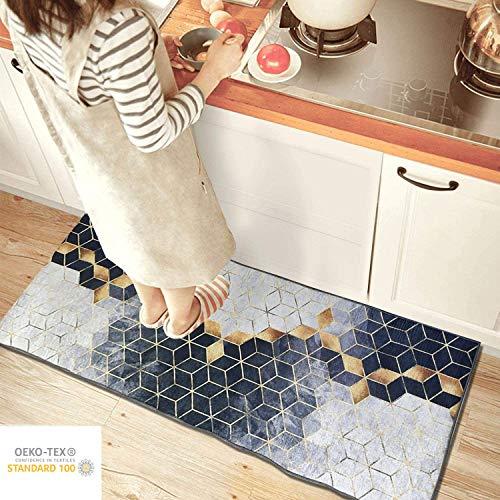 Siela Waschbar In Der Waschmaschine Teppich Quadrate Design Pflegeleicht Strapazierfähig und Schadstoffgeprüft Teppichläufer rutschfest Grauer(80x150)