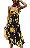 Women's Summer Floral Bohemian Dresses Elegant Spaghetti Strap Button Down Swing Midi Dress with Pockets (Apparel)