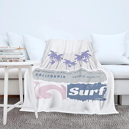 Wraill California Venice Beach Surf - Manta para sofá y salón, muy mullida, para hombre y mujer, color blanco, 150 x 200 cm