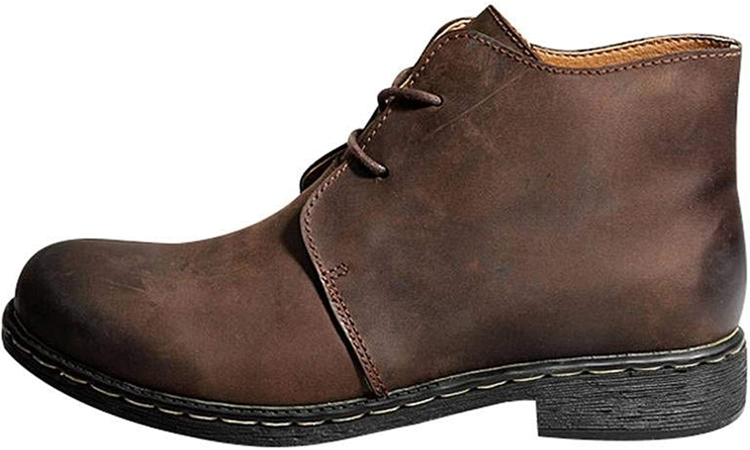 Bigassets Men's Winter Autumn Leather Martin Boots Lace-up Boots