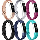 [Pack 6] Bands Compatible with Fitbit Alta HR Bands for Women Men, Soft Silicone Sport Replacement Bands for Fitbit Alta and Fitbit Alta HR (Small, Rose Gold, Silver, Fuchsia, Black, Navy Blue, Teal)
