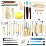 IWILCS 61Pcs Herramientas escultura arcilla, Set de herramientas de arcilla cerámica, kits de herramientas de modelado de cerámica, para esculpir arcilla, herramientas de talla de arcilla polimérica