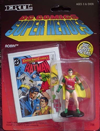 precioso DC Comics Super Heroes Die-cast Metal Robin Figurine with Collectible Collectible Collectible Card by The ERTL Company, Inc.  auténtico