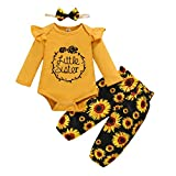 18 Month Girl Clothes Toddler Girl Outfits Long Sleeve Ruffle Romper Tops Baby Sunflowers Pants with Headband 3Pcs Girl Autumn Outfit Set