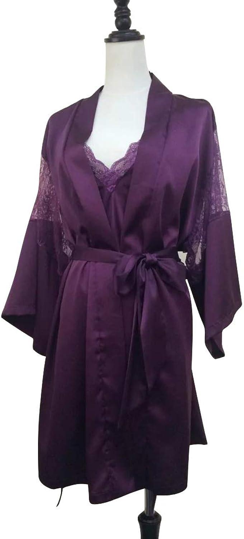 Sugoishop Women's Purple Deep V Lace Silk Two Piece Nightgown Size M (color   Purple, Size   M)