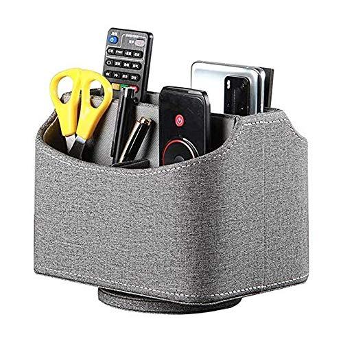 Fernbedienungshalter aus Leder, um 360 Grad drehbar, für Schreibtisch, TV-Fernbedienung, Nachttisch, Organizer für Controller, Medien, Post, Taschenrechner, Handy und Stifte
