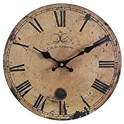 Eruner 16-inch Vintage Wood Wall Clock - France ParisCafe des Marguerites Country Retro Style Non-Ticking Silent Wooden Wall Clock (#09, 16)