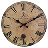 Eruner 12-inch Vintage Wood Wall Clock - France ParisCafe des Marguerites Country Retro Style Non-Ticking Silent Wooden Wall Clock (#09, 12')