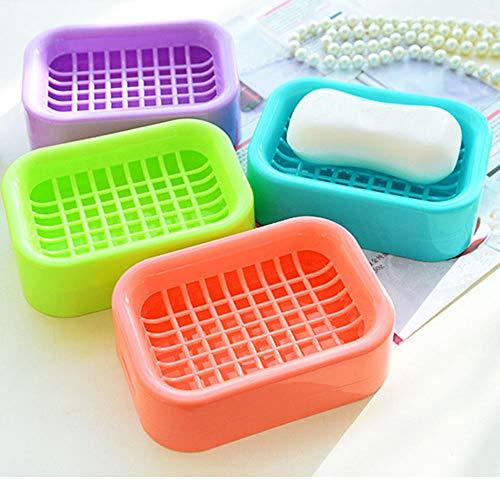 Skykaylen - Jabonera de Doble Capa ecológica para Viajes en el hogar, de plástico, Doble Soporte para jabón, Caja de baño, Color Azul