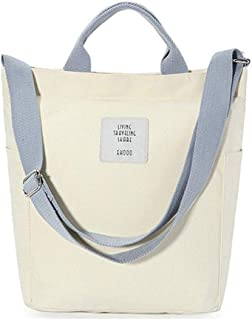 Women Canvas Tote Purse Handbags Casual Shoulder Work Bag Crossbody School Handbag