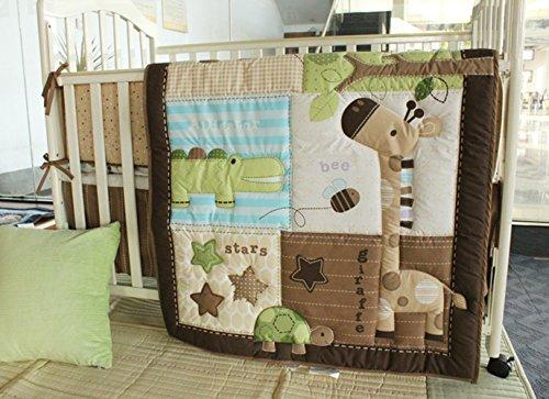 4 PCs Nursery Crib Bedding Set Cartoon Animals Baby Bedding Set Quilted Comforter + Bumpers + Fitted Sheet +Skirt Cradle Bedding Set Baby Boy Gift Idea (Green Brown Giraffe Turtle Croc Set)