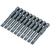 10Pcs 50mm Set di Punte Cacciavite a Taglio, Testa Piatta Magnetica 1/4 di Pollice con Gam...