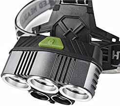 ETbotu 5LED USB Rechargeable Headlamp, 3 x CREE-T6 + 2 x XPE/LTS Headlight Torch Fishing Lights for Outdoor Hiking Camping Cycling