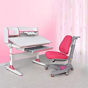 EXCLVEA-TCS Baby Activity Table- Desk Chair Set Multi-functional Desk And Chair Set Childen Kids Study Table School Student Desk Book Stand Height Adjustable Baby Play Table  Color Pink
