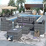 Merax 5 Pieces Patio Furniture Wicker/Rattan Sofa Set Storage Bench, Table and Chairs, Ottoman for Outdoors, Gray/Gray