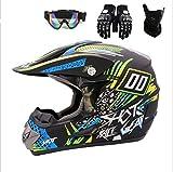 ZLCC Adulto Casco de Motocross Casco Motocicleta Set con Gafas Máscara Guantes, Moto Sport Off-Road Downhill Casco Integral ATV MTB BMX Quad Cascos de Motocicleta (L 56~57,TK 06)