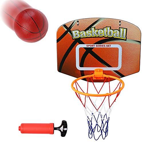 Akokie Basketballkorb Kinder Basketball mit Pumpe Outdoor Mini Basketballkorb Basketball Spielzeug Kinder Ball Spiele Basketballkorb Geschenk für Junge Mädchen ab 3+ Jahren