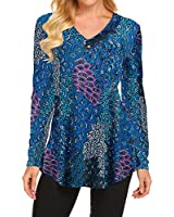 Fall Tops for Women 2020 Long Sleeve Button up Floral Print Flowy Tunic Tops (Aqua, Large)