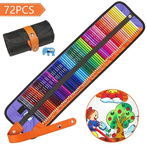 Matite Colorate, Hospaop Matite Colorate Professionali da Disegno, 72 Pezzi Pastelli Colorati con Temperamatite Portatile per Colorazione Adulti e il Materiale Scolastico Dei Bambini