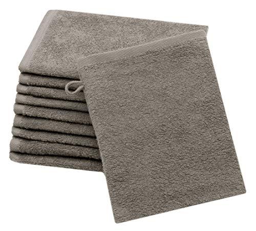 ZOLLNER 10er Set Waschlappen Baumwolle, 16x21 cm, Taupe (weitere verfügbar)