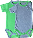 Princess Taufkleid Baby Kurzarm-Body 2er Pack grün/grau & grau/grün Grösse 86 Unisex 100% Baumwolle Druckknöpfe