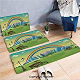 FashSam 3 Piece Non Slip Flannel Door Mat Kids Nursery Decor Park Bench Hills Apartments Rainbow Beams Flowers Art Print Indoor Carpet for Bath Kitchen(W15.7xL23.6 by W19.6xL31.5 by W35.4xL62.9)