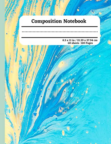 Composition Notebook: College Ruled Paper Notebook Journal | Pretty Double Colonial White & Sky Blue Marble |Blank College Lined