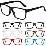 Reading Glasses Blue Light Blocking glasses women/men-6Pack Computer glasses Reading Anti Glare Filter Square
