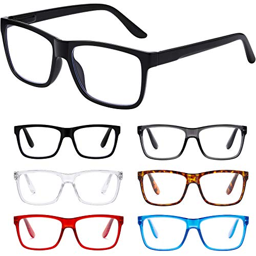 Reading Glasses Blue Light Blocking glasses women/men - 6Pack Spring Hinge Computer Readers Anti Glare Filter Square Frames Eyeglasses (6-pack Mix Color, 2.5)