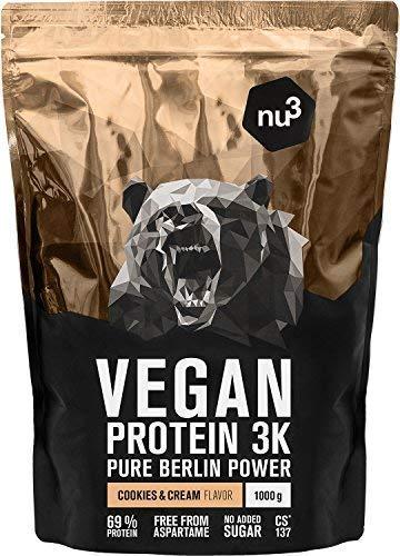 nu3 Vegan Protein 3K Shake - 1 Kg Cookies & Cream Blend - veganes Eiweisspulver aus 3-Komponenten-Protein mit 69% Eiweiss - Pulver zum Muskelaufbau mit Kekse Geschmack - Laktosefrei und zuckerfrei