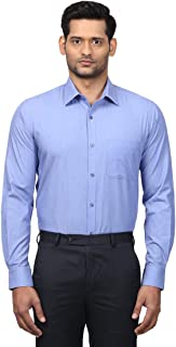Raymond Solid Cotton Medium Blue Regular Fit Cutaway Full Sleeve Shirts