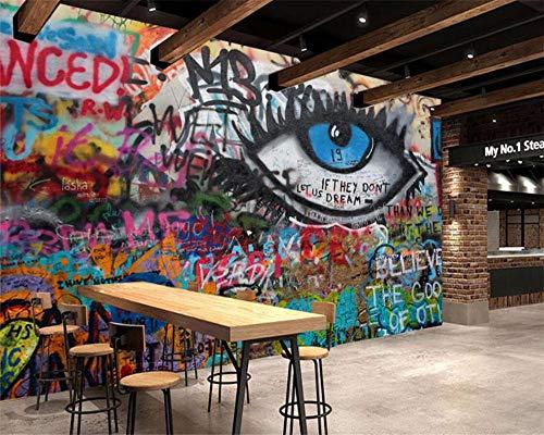Fotobehang KTV bar café kantoor graffiti fotobehang naadloos fotobehang moderne wanddecoratie achtergrond foto fotobehang 250 * 175 cm
