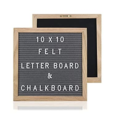 Jo & Ashley Felt Letter Board and Chalkboard - 376 Letters, Numbers & Symbols, 10x10 Oak Frame, Changeable Grey Felt Letter Board, Chalkboard, Canvas Bag, Wood Stand, Chalk Marker, and Cloth Wipe