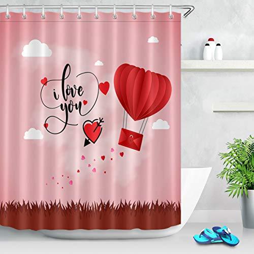 Alla hjärtans dag älskare hjärta bad dekor tyg dusch gardinkrokar