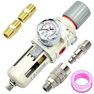 Tailonz Pneumatic 1/2 Inch NPT Air Filter Pressure Regulator AW4000, Water-Trap Air Tool Compressor Filter with Gauge from TAILONZ PNEUMATIC