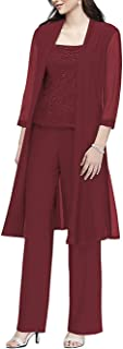 kxry Women's Dress Chiffon 3 Piece Set Pantsuits with Long Jacket Mother of The Bride Outfits Plus Size