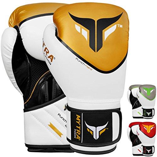 Mytra Fusion Boxing Gloves Punch Hard SL 5 Training Bag Gloves WhiteGold 12 oz