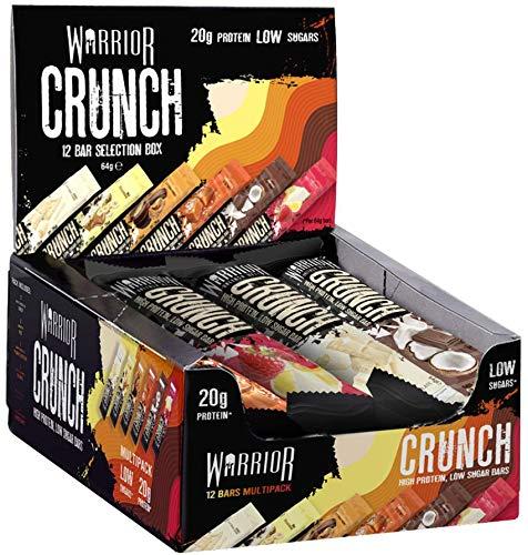 Warrior CRUNCH 12 Bars x 64g - High Protein Bars - 20g Protein in Each bar - Variety Pack | Warrior Supplements