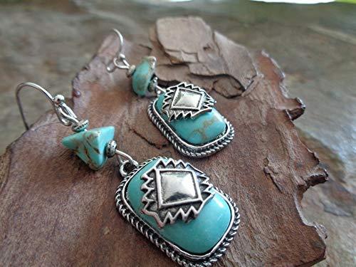 PIETRE RETTANGOLARI DI HOWLITE DI TURCHESE IN DIVERSE FORME orecchini etnici con montature in metallo e accessori turchesi