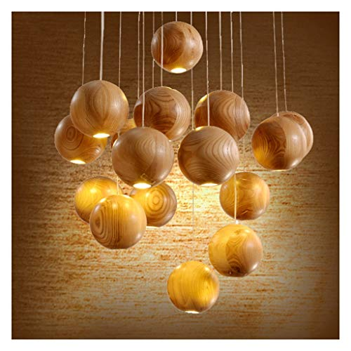 Niuzimu Fashion Round hanglamp 1-16 test, Hotel Living Room Lighting Log houten bol LED eenvoudig herstel kroonluchter