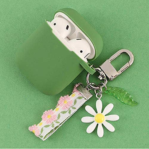 zhenshi Luxury Cute Flower Decoration Case For Ap Airpods Case Ornament Accessories Bluetooth Earphone Silicone Cover Key Ring (Color : K)